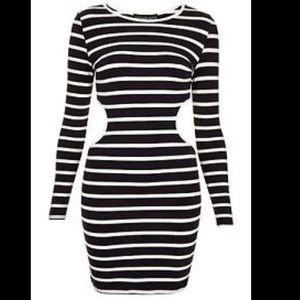 TOPSHOP Striped Navy & White Cutout Dress